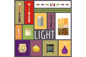 Candle fire vector illustration. Wax
