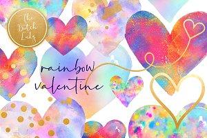 Valentine Rainbow Heart Clipart Set