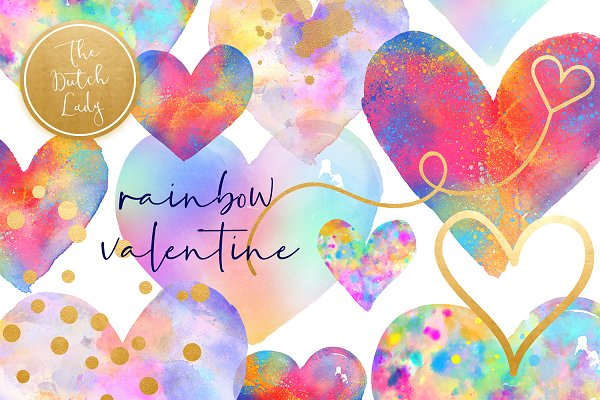 Valentine Rainbow Heart Clipart Set