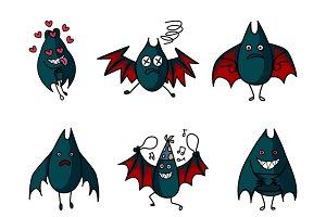Cartoon Illustration Of Cute Bat Set
