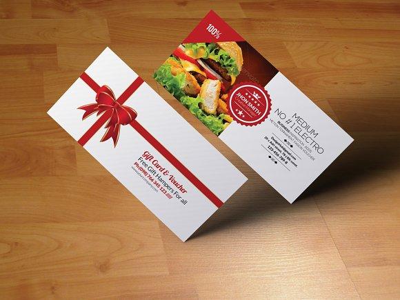 Restaurant gift voucher invitation templates on creative