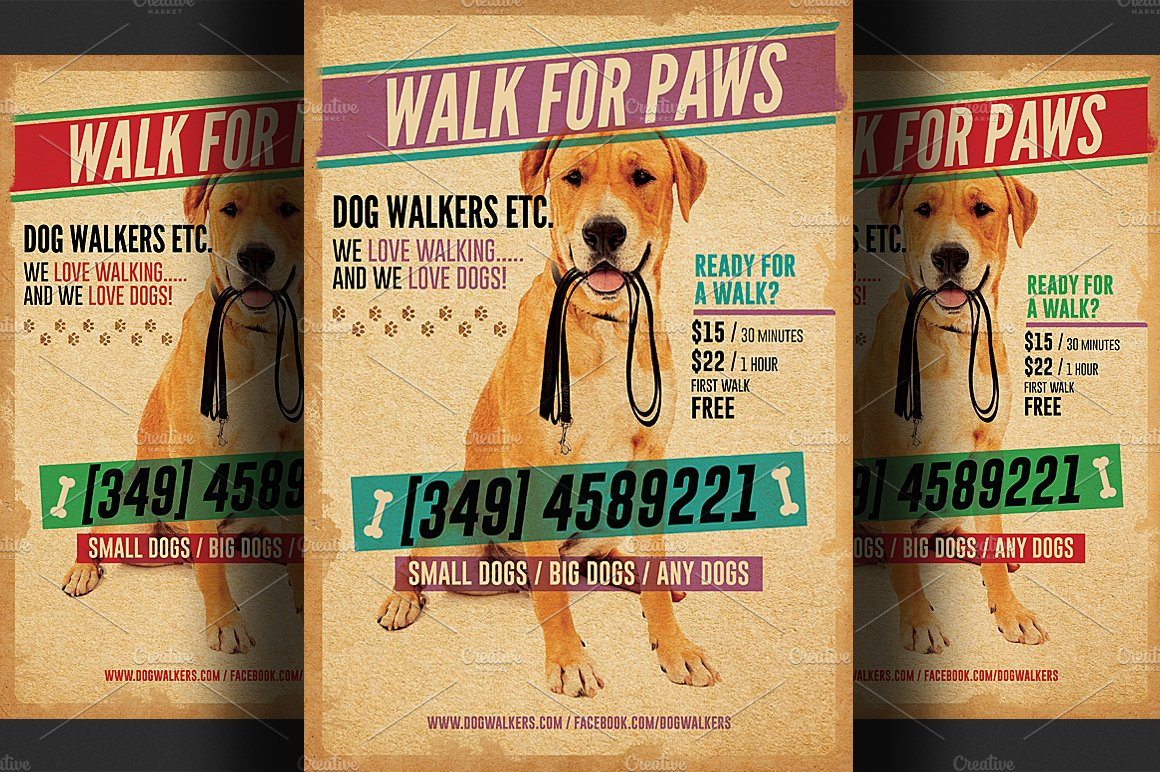 Dog walkers flyer template 2 flyer templates creative market maxwellsz