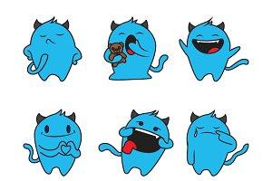 Cute Illustration Of Blue Monster
