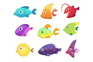 Cartoon fish. Underwater ocean sea