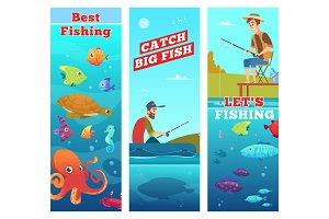 Fishing banners. Underwater sea