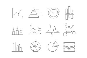 Graphs charts icons. Business