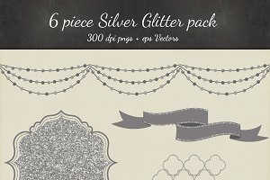 Silver Glitter Vectro PNG 6 Pack