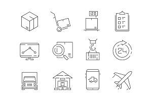 Logistic icon set. Warehouse