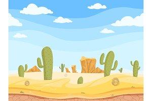Desert seamless background. Wild