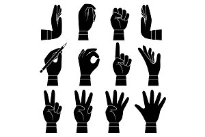Hands gesture collection. Male and