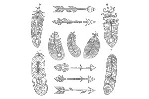 Tribal feathers and arrows. Aztec
