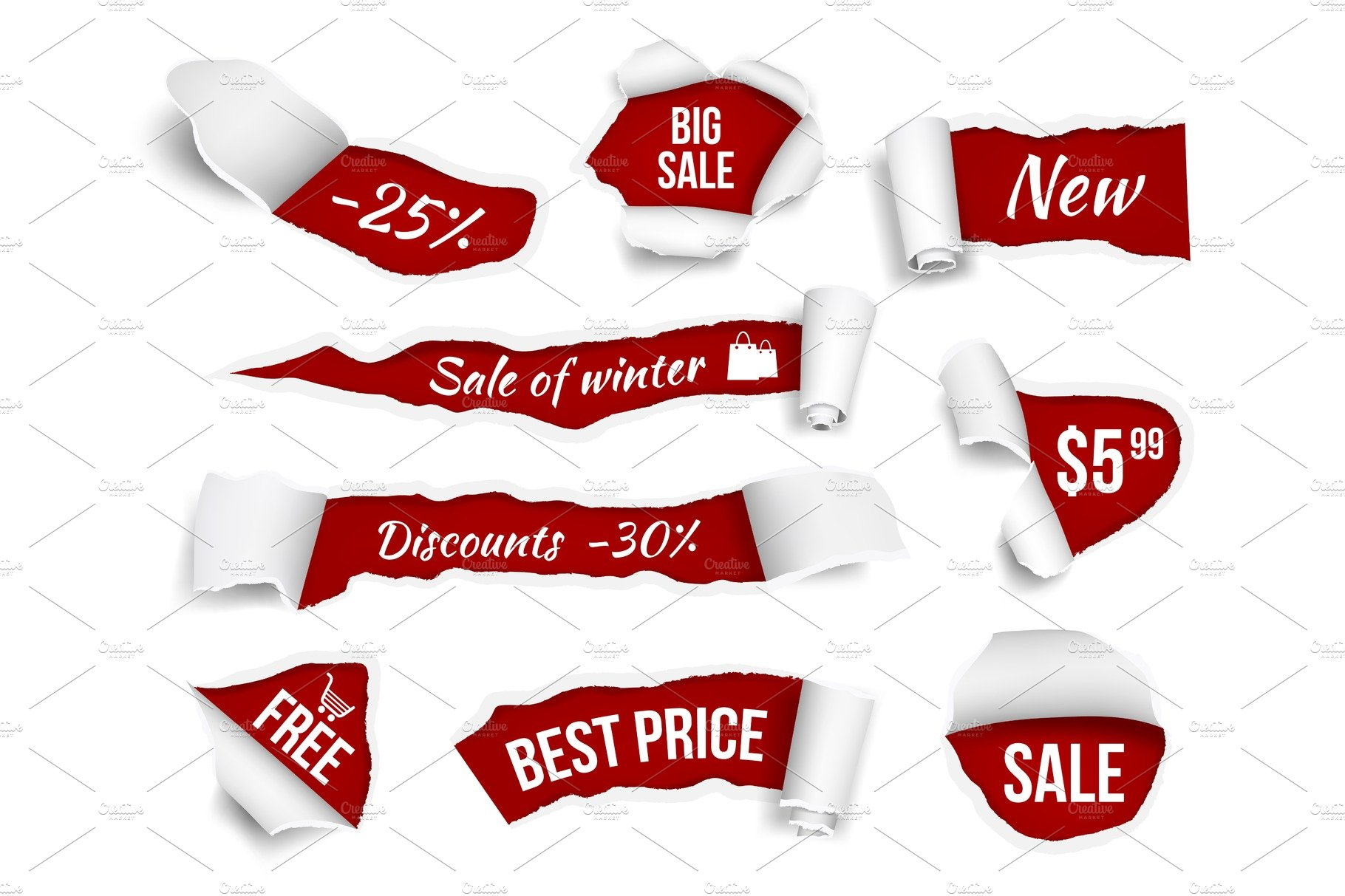 Promo banners ripped paper  Sale