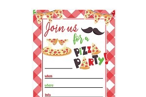 Pizza Party Invitation Diy Invitation Templates Creative Market