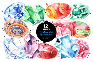 Watercolor Gemstones Vector Set