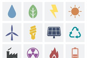 Eco and green organic icons