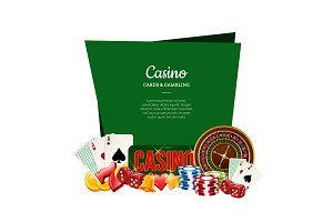 Vector realistic casino gamble with