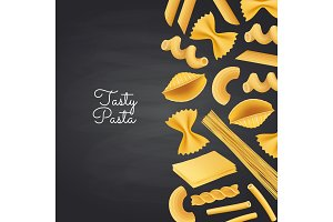 Vector pasta types on black