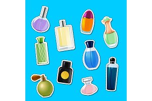 Vector perfume bottles stickers of