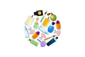 Vector perfume bottles in circle