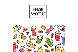 Vector doodle fresh smoothie drink