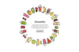 Vector doodle smoothie in circle