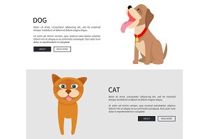 Dog and Cat Conceptual Banner Vector