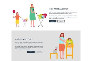 Mom and Daughter and Child Vector