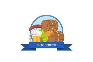 Oktoberfest Logo Design with Wooden