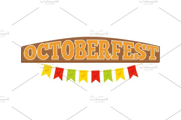 Oktoberfest Colorful Inscription on