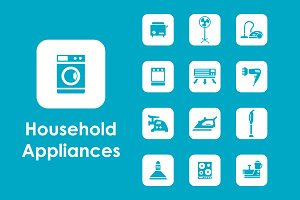 Household appliances simple icons