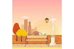 Autumn City Park Panorama Vector