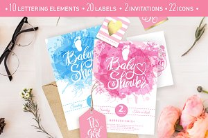 Baby Shower lettering & icons set