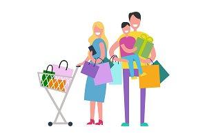 Shopping Family Vector Illustration