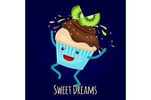 Happy kiwi cupcake with choco