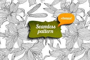 Lily seamless pattern + bonus