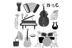 Monochrome vector music instruments
