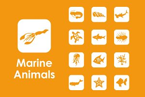 36 marine animals simple icons