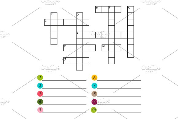 Vector Crossword Puzzle Template Graphics Creative Market