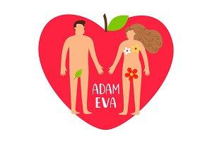 Adam and eve. Bible genesis vector