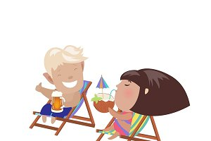 Couple sitting in the deck chairs