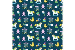 Cute babies toys seamless pattern