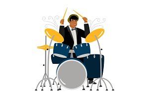 Jazz drummer playing isolated on