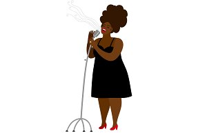Jazz singer woman with microphone