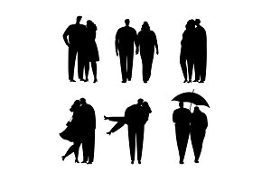 Collection of black silhouettes of