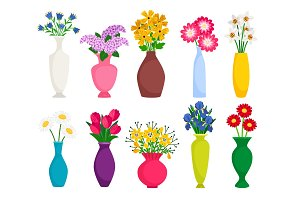Set of colored vases with blooming