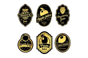 Gold retro fruit posters or vintage