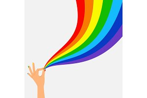 Hand hold wave rainbow flag lgbt