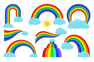 Colored rainbows with clouds