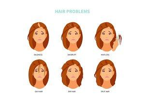 Hair problems vector