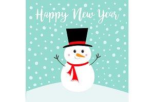 Happy New Year. Snowman on snowdrift
